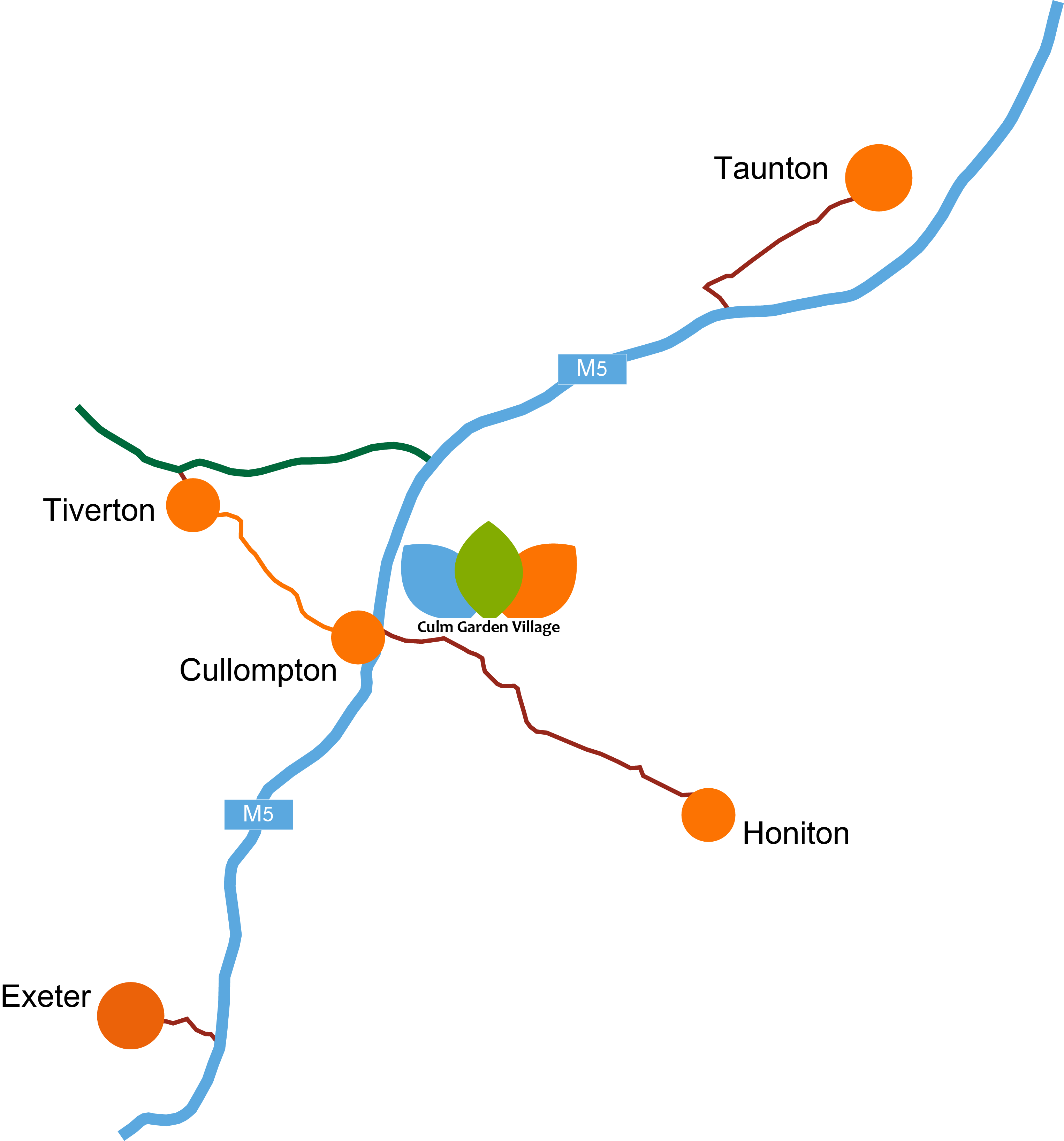 Map illustrating Culm Garden Village location in relation to the M5 motorway
